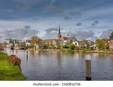 Koudekerk aan den Rijn, Zuid-Holland/ The Netherlands - October 27 2019: A small village on the Oude Rijn river