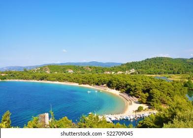 Koukounaries beach bay view in Skiathos, Sporades islands