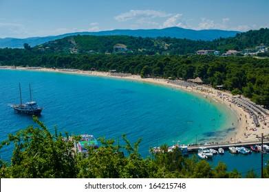 Koukounaries beach, natural reserve pin, Greece