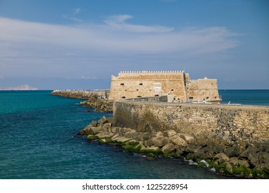 Koules Fortress in Heraklion. Island of Crete in Greece. Koules Fortress, tourist attraction in the sea port in the city of Heraklion.