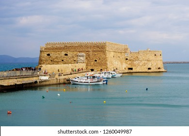 Koules Fortress located at the entrance of the old port of Heraklion, Crete, Greece