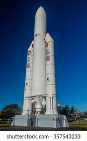 KOUROU, FRENCH GUIANA - AUGUST 4, 2015: Model of Ariane 5 space rocket at Centre Spatial Guyanais (Guiana Space Center) in Kourou, French Guiana