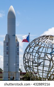 KOUROU, FRENCH GUIANA - AUGUST 4, 2015: Model of Ariane 5  space rocket at Centre Spatial Guyanais (Guiana Space Centre) in Kourou, French Guiana