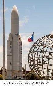 KOUROU, FRENCH GUIANA - AUGUST 4, 2015: Model of Ariane 5  space rocket at Centre Spatial Guyanais (Guiana Space Centre) in Kourou, French Guiana