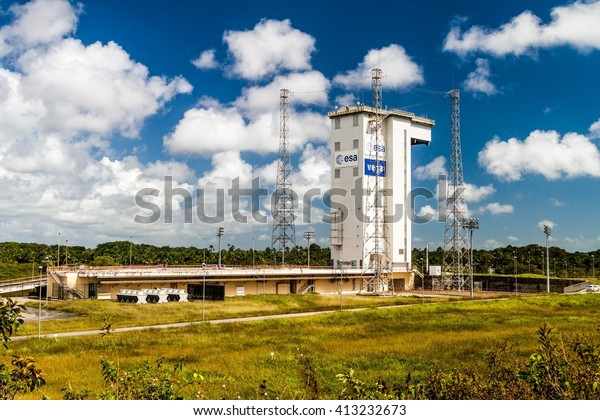 KOUROU, FRENCH GUIANA - AUGUST 4, 2015: Ariane Launch Area 1, launch pad of Vega rockets, at Centre Spatial Guyanais (Guiana Space Centre) in Kourou, French Guiana
