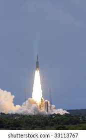 Kourou, French Guyana-July 1: launch of TerreStar-1, the heaviest commercial satellite ever launched, was performed with the 45th mission of an Ariane 5 on July 1, 2009 in Kourou, French Guyana.