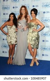 Kourtney Kardashian, Khloe Kardashian and Kim Kardashian  at the 2011 People's Choice Awards - Press Room, Nokia Theatre, Los Angeles, CA. 01-05-11