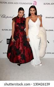 Kourtney Kardashian, Kim Kardashian at the Elton John Aids Foundation 21st Academy Awards Viewing Party, West Hollywood Park, West Hollywood, CA 02-24-13