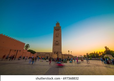 Koutoubia mosque with beautiful colors of sunset, Marrakech, Morocco