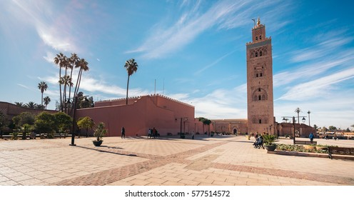 The Koutoubia Mosque or Kutubiyya Mosque, it is the largest mosque in Marrakesh, Morocco.