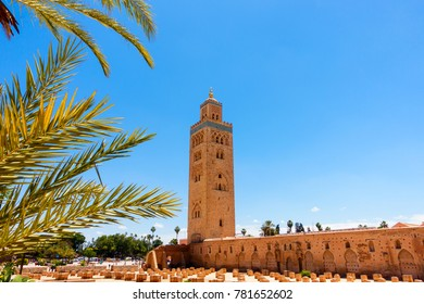 Koutoubia Mosque, Marrakech, Morocco, with sunlit palm tree leaves in the foreground.