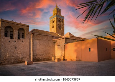 Koutoubia Mosque in Marrakesh,Morocco. Beautiful Sunlight at Sunset.