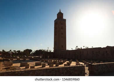 Koutoubia Mosque with its unique minaret and ruins of the old mosque in the heart of Marrakesh during a spring morning (Marrakesh, Morocco, Africa)