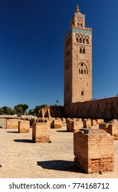 Koutoubia-Mosque in Marrakesh with a blue sky totally free of clouds