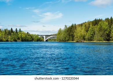 KOUVOLA, FINLAND - MAY 29, 2017: Old Koria bridge at Kouvola over Kymi river