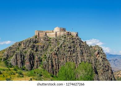 Kov castle is located within the boundaries of Esenyurt village of Gümüşhane - Turkey. In 1361,  It is rumored that by III. Alexios, it was made to resist the Seljuks.  - Shutterstock ID 1274627266