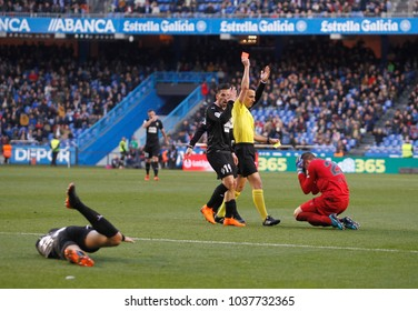 Koval, goalkeeper of Deportivo expelled  during the La Liga match, date 27, between Deportivo de La Coruña and SD Eibar played at the  Riazor Stadium, La Coruña , Spain on 03th March 2018.