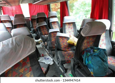 Kovel, Volyn - July 11 2013: Damaged passenger seats inside tourist bus after accident