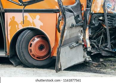 KOVEL, Volyn / UKRAINE - JULY 11 2013: Scene of bus crash