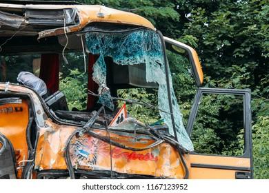 Kovel , Volyn / Ukraine - July 11 2013: Bus with broken glass