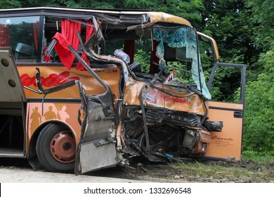 Kovel, Volyn / Ukraine - JULY 11 2013: Scene of bus crash where nine Ukrainian, Belarusian and Bulgarian Tourists were died and as many as 30 others were injured