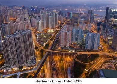 Kowloon Bay, Hong Kong 16 February 2019: Hong Kong city night