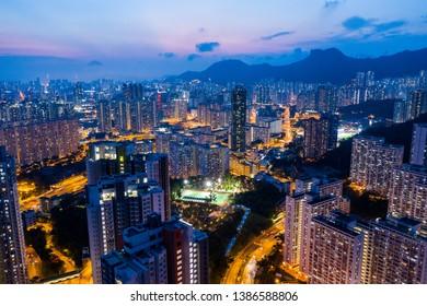 Kowloon Bay, Hong Kong 25 April 2019: Drone fly over Hong Kong city at night