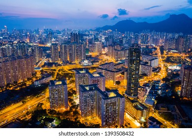 Kowloon Bay, Hong Kong 25 April 2019: Top view of Hong Kong cityscape at night