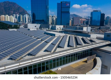Kowloon Bay, Hong Kong 29 February 2019: Top view of solar panel on roof top building