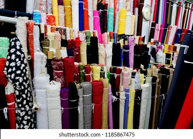 Kowloon, Hong Kong - 15 September 2018:  A tailor shop selling fabric