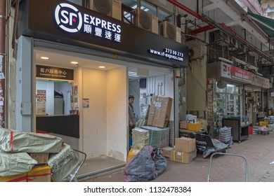 KOWLOON, HONG KONG - APRIL 22, 2017: SF Express Shipping and Delivery Post Service in Kowloon, Hong Kong.