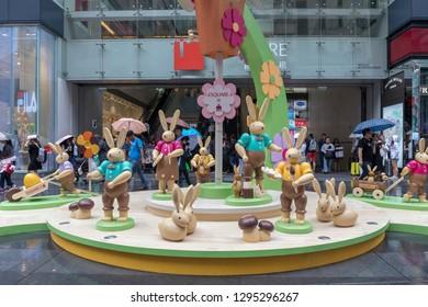 Kowloon, Hong Kong - April 22, 2017: Wooden Rabbits Toys in Front of iSquare Shopping Mall in Tsim Sha Tsui, Hong Kong, China.