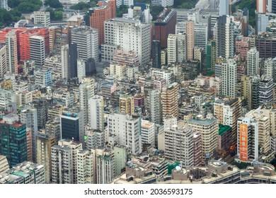 Kowloon, Hong Kong - June 12, 2016 : Aerial View Of Buildings In Kowloon Peninsula.