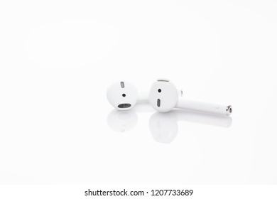Kowloon / Hong Kong - Oct 15th 2018: Apple bluetooth earphone, the AirPods