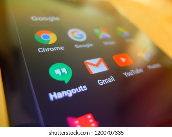 Kowloon, Hong Kong. October 9, 2018 - google application close up on smartphone screen. chrome, google, hangouts, gmail, youtube apps for mobile phone users.