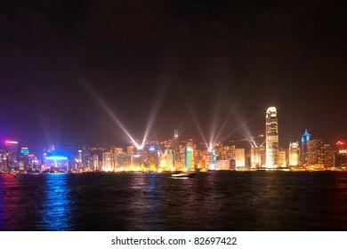 KOWLOON, HONK KONG - JANUARY 9: Hong Kong famous Laser harbor Show seen from Kowloon on  January 09,2010 Kowloon, Hongkong.