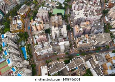 Kowloon Tong, Hong Kong 17 May 2019: Aerial view of Hong Kong city