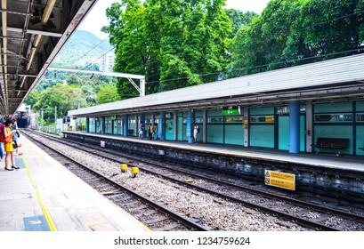 Kowloon Tong MTR Station, Hong Kong, August 2018. Passengers Waiting at Hong Kong Kowloon Tong Station in a Summer Day.