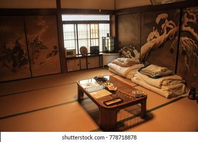 KOYASAN, JAPAN - OCTOBER 14, 2017: Traditional ryokan - japanese hotel