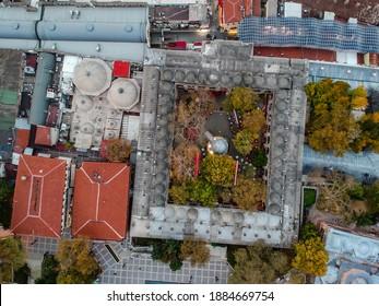 Koza Han Silk Bazaar in Bursa in Turkey aerial view - Shutterstock ID 1884669754