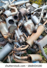 Kozani, Greece- December 2020: A lot of used parts of οil or brake tubes. At a vehicle graveyard. Awaiting to be used again or to be recycled.