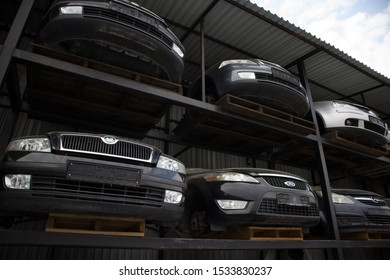 Kozani, Greece - September 2019: The front part of vehicles which awaiting dismantling, recycle or resale. At a car graveyard.