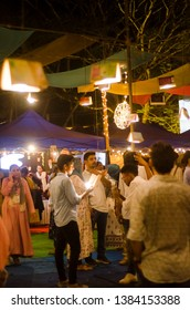 kozhikode - kerala - india , calicut flee market festival  people are moving on food stall 10/04/2019 at kozhikode - kerala - india