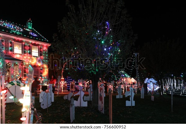 Christmas Village Pa.Koziars Christmas Village Light Show Bernville Stock Photo