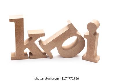 KPI abrreviation wood letters on white background (Key Performance Indicator)