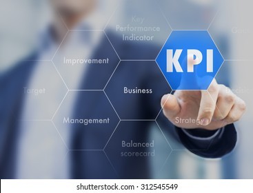 KPI business management with key performance indicator presented by businessman