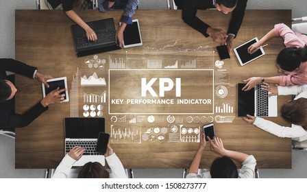 KPI Key Performance Indicator for Business Concept - Modern graphic interface showing symbols of job target evaluation and analytical numbers for marketing KPI management.