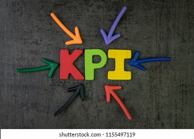 KPI, Key Point Indicator business target and goal measurement concept by multiple arrow pointing to colorful alphabet building the word KPI at the center.