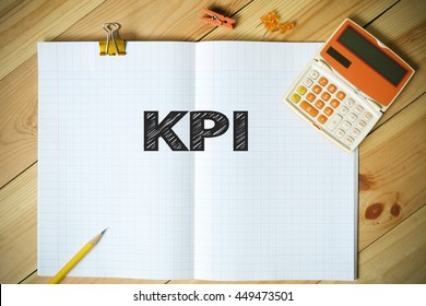 KPI text on paper in the office , business concept