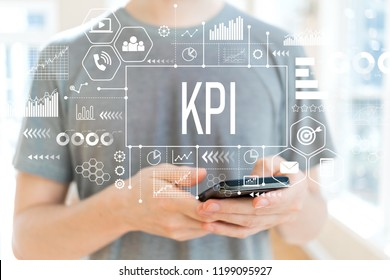 KPI with young man using a smartphone